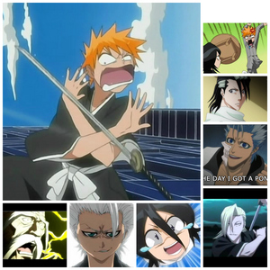 Basically any funny moment from Bleach (except for the one in the bottom right corner and the one above it those were both during battles).