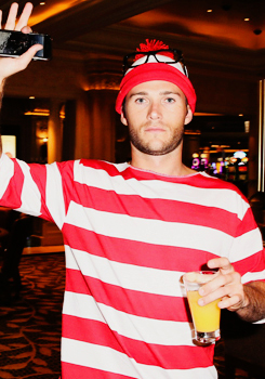 Scott in a red striped shirt<3