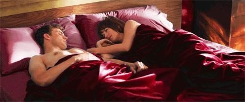 Jamie in a scene from FSOG sleeping<3