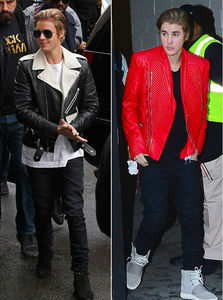 I'd 爱情 to have both of Justin's jackets,especially the red leather jacket:)