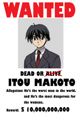 I was thinking of posting Shou Tucker, since he's my #1 most hated anime character, but tu beat me to it... :/ Anyway, I hate Makoto Itou from School Days. There is nothing good about him. At all. He deserved what he got at the end! 😈