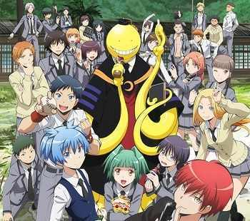 Assassination classroom It's about a class trying to assassinate an octopus like alien with rubber knives and बंदूकों with गुलाबी tiny balls लोल