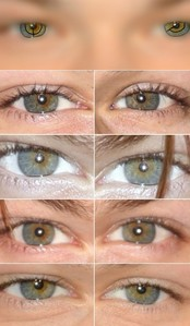 The answer is simple. He has central heterochromia, a mix of pigments. The color of his eyes is not defined. Because there is not only one color : blue-gray, gray-green, light brown and a yellowish tone. His right eye has 4 as cores and left 3 colors. (Sorry if my english is not clear, I'm brazilian.) Any question? - por Duda Tanner 