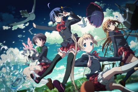 - Love, Chunibyo & Other Delusions (Sub & Dub) A case of an 8th Grade sickness due to Roleplay. A teenage boy has decided to stop being an idiot (no offense X3X!!) and become an ordinary high schooler. But he runs into a girl around her age who still has the sickness! - Nisekoi (Sub & Fan-Dub) A teenage boy has a colar he had when his young crush (like really young) gave him long ago! But a female student arrives, changing his feelings slowly. The female student and the Teenage Boy somehow are in a phony romantic relationship. He slowly starts to fall for her. - My Little Monster (Sub & Dub) Shizuki, a cold-hearted teenage girl, is asked to ask a long absent student (who is Yodisha) to come back to school. Yodisha and Shizuki become friends quickly. Why he doesn't come to school you ask? He beats up everyone (not everyone). He confesses his feelings to her (when they just met two days ago!!!) when she stood up for him. - Kamisama kiss (Sub & Dub - Season Two) Nanami, a teenage girl,'s father went away to work, now she is all alone. She meets a land lord, and she claims his role with a single kiss on the forehead. She now goes to the shrine meeting three spirits, a fox, and two children with masks. Please do tell me if you have enjoyed these! ^^ or if you have already seen these </3 ~ chá