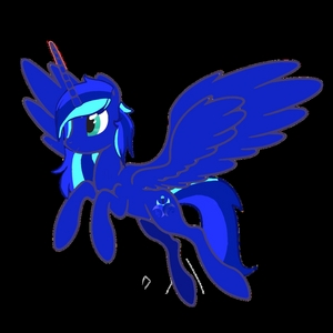 Name: Midnight Melody Type: Natural Alicorn Color of Magic: crimson Cutie Mark: Three crescent moons, all different shades of blue, over lapping each other facing out. With a microphone at the top, a treble clef at the bottom left corner, and a bass clef at the bottom right Eye color: Aquamarine Mane & Tail: teal, medium blue, and navy blue Work: helps apfel, apple Jack around the farm doing chores Best pony friend: Zicora Personality: Loving, bold, very musical, warm hearted, and just full of life Background info: She came from a different Universe, that in a way, created equestria. And thats why she knows so much about their world. She spends her free time in the Everfree Forest because it works alot like home. Will she ever leave this land, will she ever go home?