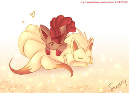 It's probably would be vulpix <3 I love ninetails too so it's perfect 'cuz he's evolution of vulpix ;)