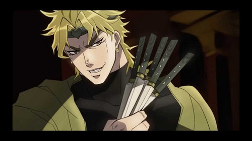 Dio Brando from Jojo's Bizarre Adventure. tu beat him in a fight, he sets your dog on fuego
