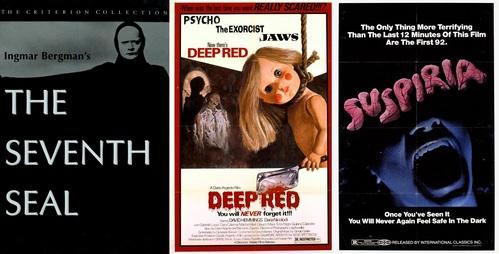 The Seventh Seal by Ingmar Bergman (Swedish) and Deep Red & Suspiria by Dario Argento (Italian)