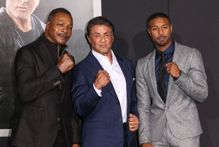 Sylvester with Carl Weathers and Michael B. Jordan in 2015. :)