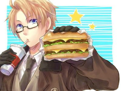 America from Hetalia. And I know many, many lebih characters!!!!! But America loves his burgers.