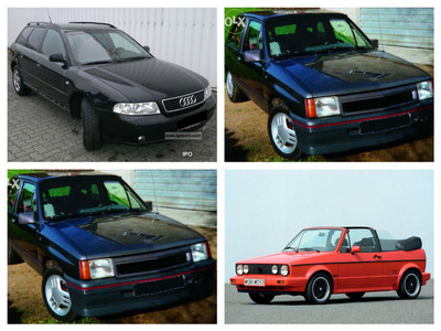 We got a: Audi A4 Avant (1999) (In Midnight blue/black) Volkswagen Golf Cabriolet (1995?) (In red) Two Opel Corsa GT (1993) (Both Grey)