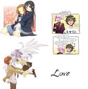 Ritsu Tainaka and Mio Akiyama (K-ON!) Ibushi Arima and Kinshiro Kusatsu (Binan Koukou Chikyuu Bouei-bu LOVE!) Yuzuru Otonashi and Kanade Tachibana (Angel Beats!)