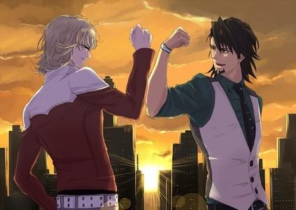 1) Kotetsu T. Kaburagi x Barnaby Brooks Jr. - Tiger and Bunny <3 2) Makoto Tachibana x Haruka Nanase - Free! 3) Shougo Sena x Rei Sagara - Liebe Stage!!