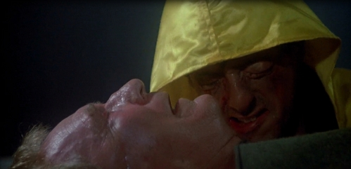 Sylvester as Rocky crying after his manager, Mickey dies from a cœur, coeur attack.