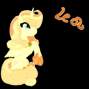 Name:Leo Gender:Mare Cutie mark:Leo sign Hobbies:tries to find the other members of the Zodiac with Sagittarius Brief personality:loyal, flirty, affectionate and kind Special fact:King Sombra cast the Zodiacs out and they took mortal form and they all try to find each other so they can create a spell to go back into the stars. When full moon turns into a lion and terrorizes ponies doesn't remember when she wakes up. She is believed to be one of the most powerful zodiac signs this is why she is a alicorn