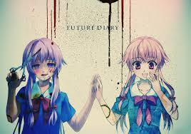 Mirai Nikki/The Future Diary, Deadman Wonderland and Highschool Of The Dead. Here's a picture of Yuno one of the main characters in Mirai Nikki/The Future Diary... Yup she's a yandere!