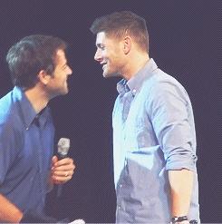 Jensen and Misha both wearing blue...