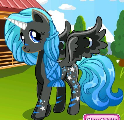 Mine is an alicorn, has a blue mane and tail, has black 毛皮 with dark blue lines above its hoofs and nose, has stars on it an d has wings which has moon shaped holes though it. Her name is night glider. She mostly spends her time in the night sky flying around in the clouds where everything is peaceful and quiet and also loves to sped time with bats and loves to gaze at the moon. Her cutie Mark is a bunch of stars spreaded around her back, her flank and her leg and ankle. She is a very quiet alicorn but she is a very energetic, loving, kind, helpful, loyal, honest, fun, generous, magical, talented special little alicorn.