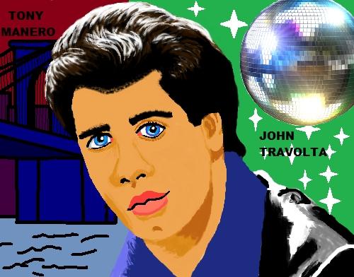 My John Travolta cartoon drawing from paint.
