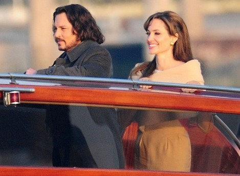 Johnny Depp along with Angelina on a boat.