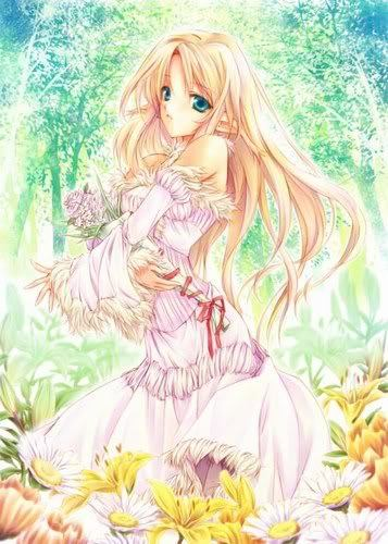 hair Anime blonde girl with