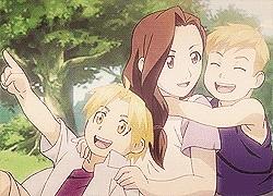 Trisha Elric from Fullmetal Alchemist I just love her! (And Edward and Alphonse!) <3 I do also love Sachiko Fujinuma from ERASED