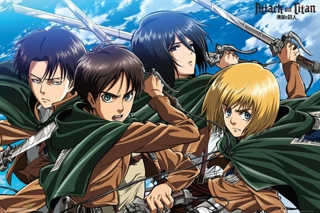 I can't believe 你 didn't see this anime. AOT. Attack on Titan. Violent and intense it's like another version of the walking dead. It isn't really scary but it's so fun to see it. I'm not going to tell any spoilers. Titans are giant forms of Humans. (Also naked).