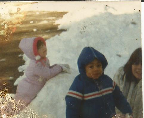 This is me in kulay-rosas when I was ether 3 or 4 years old with a old friend of mine in blue and my eldest sister on the right with half of her face cut off.