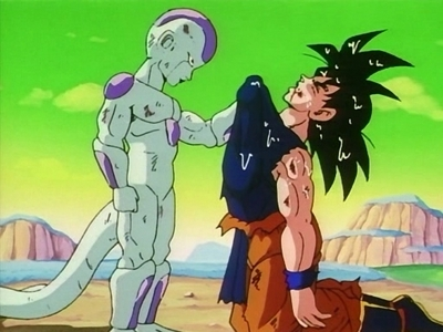 Did Goku survive the blow against Frieza during their battle, and they just continued the battle after he resurfaced? au Did Goku die from that attack, and just after he died, shenron revived him because he was killed kwa Frieza, and all who where killed kwa Frieza and his henchman where brought back???