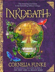 Inkdeath, the third and last book in the Inkheart trilogy. It was an amazing book...I haven't been able to pick up another book since I've read it. I have a bit of trouble moving on. :T ...Dustfinger was my paborito character.