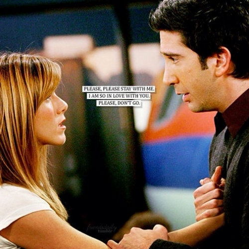 <i>She didn&#39;t made Ross break up with Julie.Even in one scene when other friends asked Rachel to tell Ross about her feelings,She said &#34;what about Julie? &#34;She knew that they both are happy together.But,it was the friends who told her that Julie is just a girl Ross met 2 weeks atrás & she should confess her feelings. Ross himself came to her saying that he broke up with Julie. Rachel getting angry on &#39;Pros & Cons&#39; list was not wrong at all,because it&#39;s just bad.You amor a girl since you were in high school & there&#39;s this girl with whom you got in relationship just 2 weeks atrás & still you&#39;re making a list if you should be with her or not.Pointing at cons of someone you love,is that good?It is hurtful.</i> <b>Although,I shipped Rachel with Ross & I&#39;m glad they ended up together. They were each other&#39;s lobsters & meant to be.</b> & I&#39;m saying this Ross did really loved Rachel,& Rachel loved Ross as well,since she left her dream job for him & got off the plane.=)