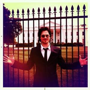 Ian outside the White House