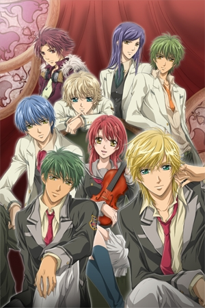 Ouran Highschool Host Club, La Corda d'Oro and Fruits Basket  All three of them are like Vampire Knight but not in the vampire sense more like how there is one girl and a group of guys which are love interests for her.  The pic is of La Corda d'Oro.
