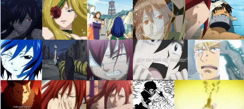 To be honest, I wasn't able to cry at any moments, but there were many moments that were very sorrowful to me: - Jellal's Captured - Ultear's Sacrifice - Imitatia's Tears and Turns Back Into A Doll - Cait Shelter's Truth is Revealed - Eclair Dies - Simon's Death - The Oracion Seis' Prayers - Erza's Past - Ur Screams For Her Daughter - Laxus' Farewell - Non-Lasting Parent and Child Reunion (-s) - Erza's 'Funeral' - Mavis' Death - etc.