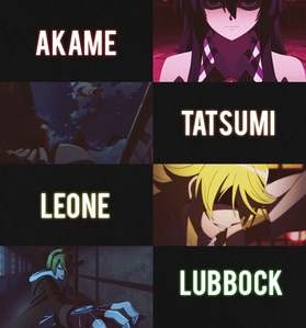 i have a whole lista of favorito! characters but here is some Akame,Tatsumi,Leone and Lubbock from Akame ga kill