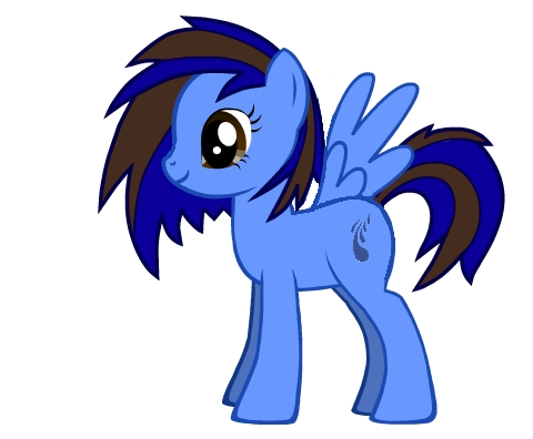 Name Of OC: Water Flash Age: 17 Gender: Mare Race: Pegasus Appearance: Royal Blue and Dark Brown Vinyl Scatch-esque Mane and Tail (Long and Spiky), with a light pale blue coat. She is handicapped due to one of her wings never developing. Likes: Swimming, Gaming, Gossiping Dislikes: Flying, Colts Friends: Fluttershy, Scootaloo Family: None Cutiemark: Several drops of water Backstory/Info: Special talent is swimming, has won 11 স্বর্ণ পদক in the Equestria games, and lives in Fillydelphia. She is an only child that grew up in Cloudsdale with her parents. When she was 4 years old, a small tornado hit her neighborhood. In the middle of the event, she fell down from the clouds. Unable to fly, she fell onto the low fog of the streets of Fillydelphia. She was alone. Eventually, after she could not find any shelter, she found a public swimming pool. She had never seen such an oddity, so naturally she jumped into the pool. The moment her hoof hit the water, she knew she had a future in swimming. She saw the local swim team practicing one দিন and asked the coach if he would let her in. He ব্যক্ত she could make the team if she got in the শীর্ষ 3 in her age group in the পরবর্তি competition. She had 3 days to prepare. At the tournament, she had one chance to prove what she was made of. One. Chance. She got to the diving board. She saw her competition. Three other little fillies. The announcer: Take your marks. BEEP! She was off. She swam like she never had before. The adrenaline. The speed. It was perfect. She touched the দেওয়াল before the other fillies. The was this strange, eerie silence, like she had done something wrong; but she was wrong. The referee had told her that she had set a world record. The crowd burst out in cheer. She did it. For the পরবর্তি 13 years, she has been living in a foster home.