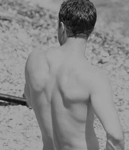 Jamie (from the back) in black and white