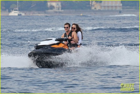 Jamie with Dakota filming a scene on a wave runner for Fifty Shades Freed