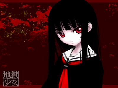 Enma Ai from Hell Girl. Mei Misaki from Another has a one red eye.