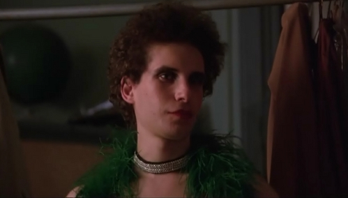 Barry wearing a green feather scarf as he is dressed in drag :D