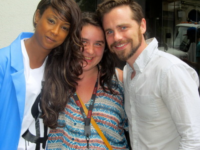 Rider and his co-star Trina McGee with a lucky fan :)