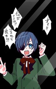 """Sorry Sebastian BUT I'M STEALING CIEL >:3 as te can tell I got Ciel .3. *Sneaks in the Phantomhive Manor into Ciel's room, grabbing Ciel and drags him out da window!* :D """"WHELP""""Ciel screams before I fabulously become a version of Grell :D (( if this was real then I'll steal Ciel irl :D ))"""