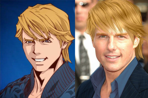 Tom Cruise and Keith Goodman from Tiger and Bunny. There are theories that Keith is actually based off Tom Cruise because they look so much alike. Now we just need Cruise to play Keith. That's all I want from life. (I mean that and a season 3 of Legend of Legendery Herpes, but y'know-)