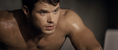 a shirtless and sweaty Kellan