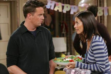 Matthew Perry with Courteney Cox in friends :)
