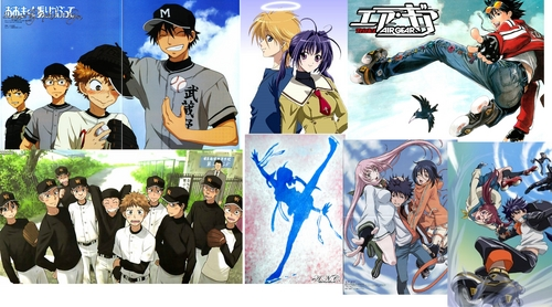 i liked them : -ookiku furikabutte(loved it) -ginban kaleidoscope( is not about a boy team but still liked it so anyway i've put it) -air gear(i haven't seen it but someone told me it's ok)