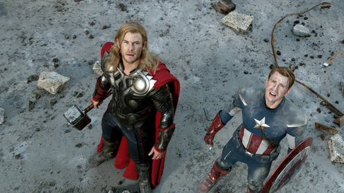 Thor and Captain America saving the lives of thousands of people