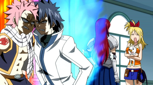 Natsu Dragneel and Gray Fullbuster I'll probably take the non stripper and go with Natsu during the arguments, Natsu's side because HE DOESN'T STRIP and he's just plain energetic