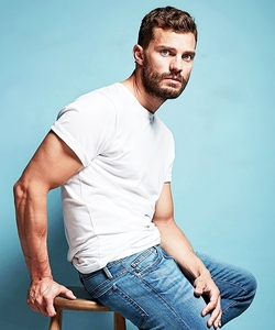 Jamie in a white t-shirt