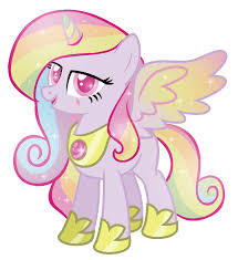 Name: Glitter best pony type: natural Alicorn (born as an alicorn) Cutie mark( A Musik note, a red lightining bolt and a badge of number 1 Working place: IDK Skin colour: rosa mane and tail colour: Rainbow( light) Horn: same Wings: like princess cadence
